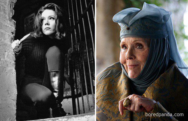 2) Diana Rigg, mint Emma Peel (Bosszúállók - 1961) és, mint Olenna Tyrrel